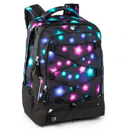 schwarzer Rucksack mit Sternenmuster