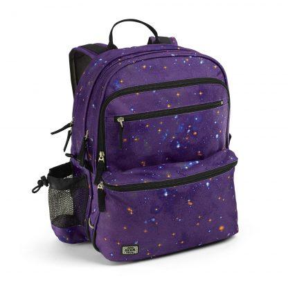 Rucksack für Kinder: Midnight purple SQUARE mit isoliertem Brotdosenfach und Turnbeutel.