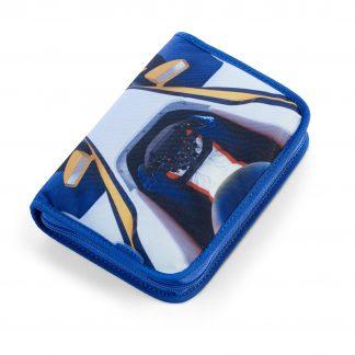 blaue Federtasche mit Rennautomotiv