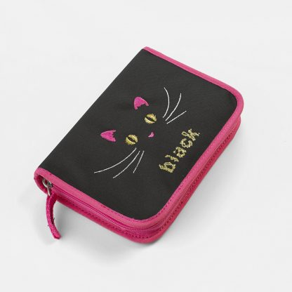 schwarze Federtasche mit süßem Katzenmotiv