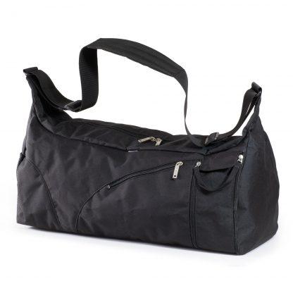Schwarze Sporttasche von JEVA, separates Fach für Schuhe / nasse Kleidung.