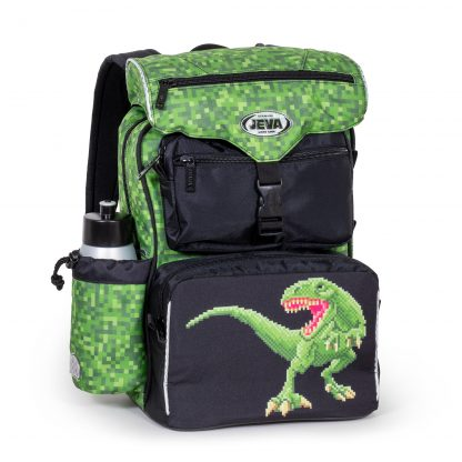 sort og grøn skoletaske med dino