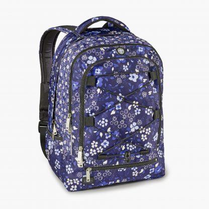 Rucksack mit blauen Blumen