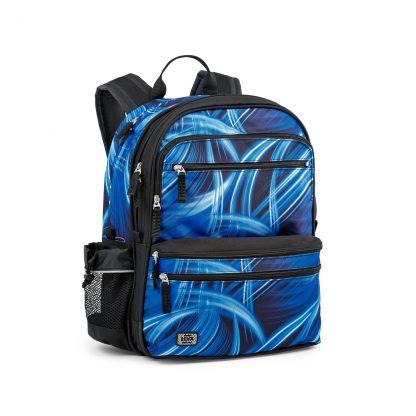Funktionaler Schulrucksack von JEVA: Lightning SQUARE mit coolem blauem Muster