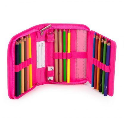 neonpink penalhus med ergonomiske blyanter