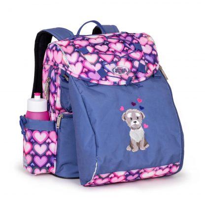 sød skoletaske med lodden hund