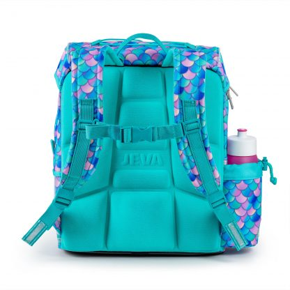 ergonomisk turkis foam-back på skoletasken