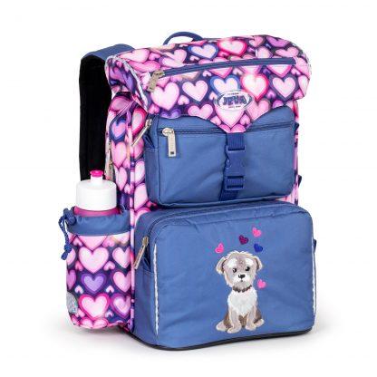 begynderskoletaske med lodden hund og hjerter
